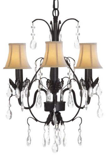 Country French Wrought Iron Tolle chandelier Lighting with Shades traditional-chandeliers