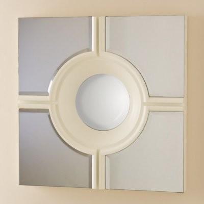 Bulls Eye Cross Mirror - White - 24W x 24H in. modern-mirrors