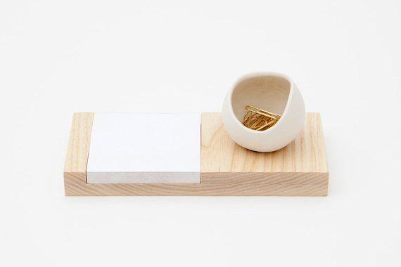 Ash and Porcelain Desk Catchall by Fashioned By Modern