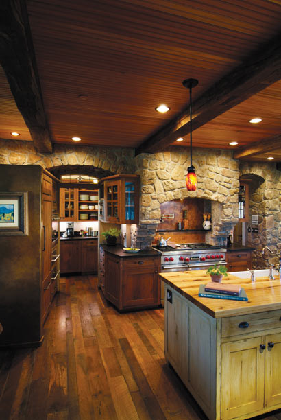 Rich wood kitchen with stone accents rustic kitchen for Kitchen designs denver
