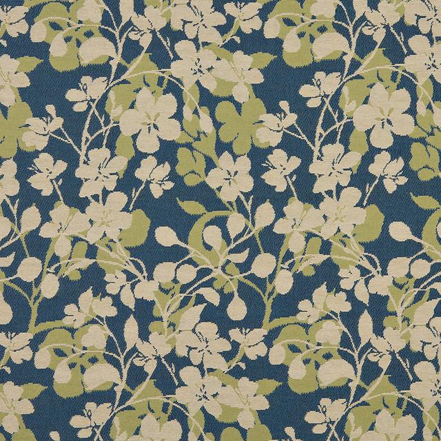 Beige dark blue lime green floral indoor outdoor for Kids outdoor fabric