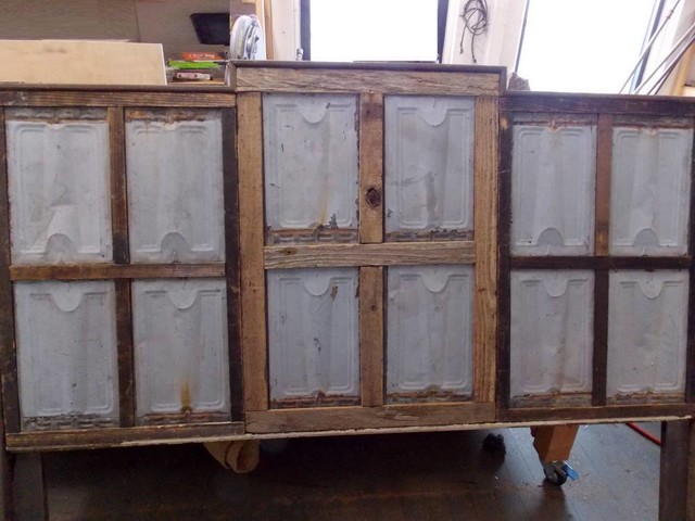 Reclaimed Barn Wood And Salvaged Metal Roof Tin Headboard