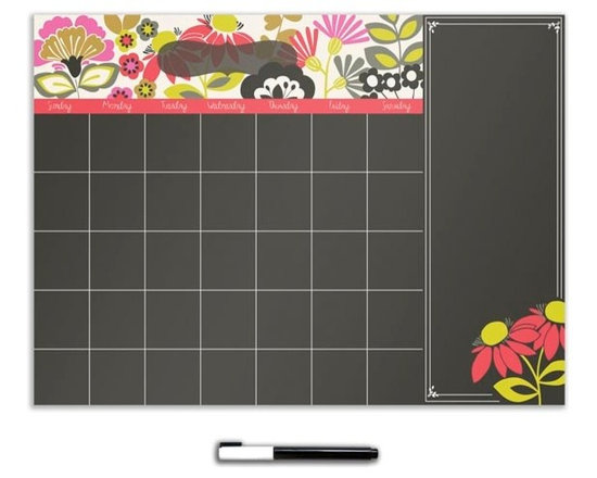 """Brewster Home Fashions - Eden Monthly Calendar Decal With Notes - Dazzling mod flowers pop on a sleek black background. This dry-erase calendar also includes a space for notes so you can truly stay on top of your schedule in style. The Eden design is a colorful and chic wall accent with the convenience of a reusable decal. Eden calendar measures 13"""" x 17.75"""" and includes a dry-erase marker. WallPops are repositionable and totally removable."""