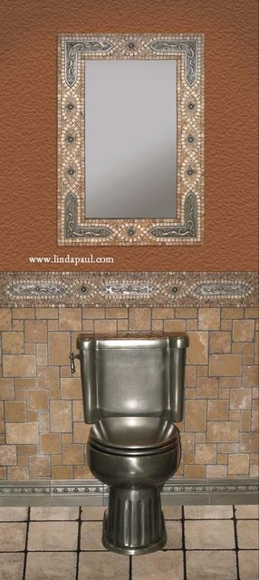 Mosaic Tile Mirror Frame With Copper Studded Brackets
