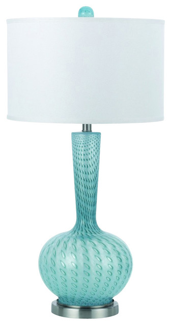 aqua glass table lamp contemporary table lamps. Black Bedroom Furniture Sets. Home Design Ideas