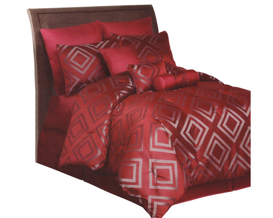 Pem America - Cinnamon Diamond Lattice California King 10 Piece Comforter Set - Gray geometric diamonds create a chic look for the comforter set with a deep burgundy / cinnamon base. The offsetting of the deep red hue and the silver blend to make a bed that changes as the lighting changes.  This is a pattern that sure to never go out of style and perfect for your modern bedroom decor. Includes 1 california king comforter (108x90), 1 california king coverlet (100x90), 2 euro shams (26x26), 2 standard shams (20x26), bed skirt (72x84, 15 inch drop), 1 neckroll (6x16), 1 square pillow (16x16), and 1 breakfast pillow (12x16). 100% hypoallergenic polyester face and fill. Dry clean only.