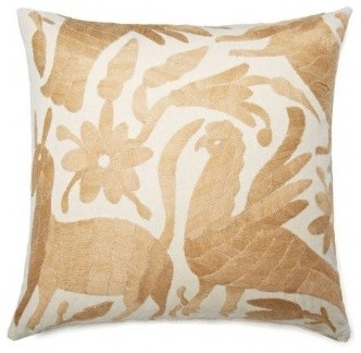 Mexican Hand Embroidered Otomi Tan Neutral Pillow contemporary-pillows