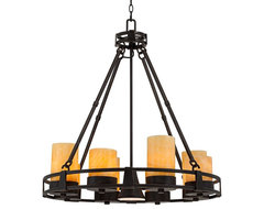Contemporary Sunset Onyx Stone 9-Light Faux Candle Chandelier contemporary-chandeliers