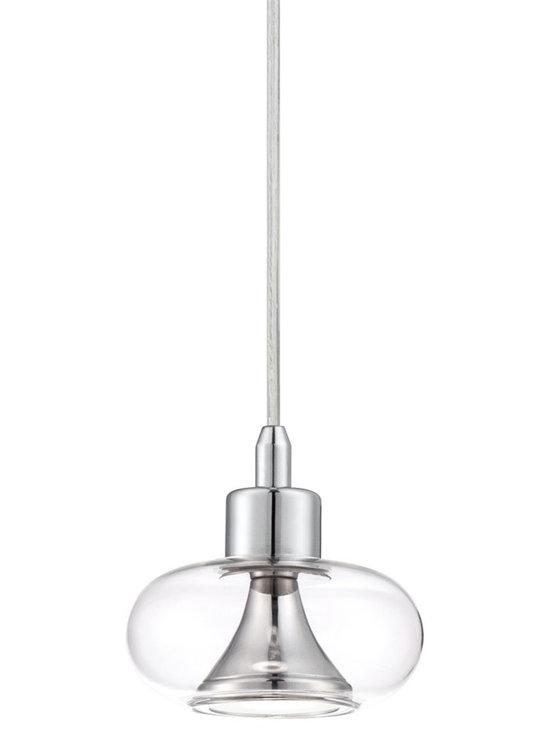 "Possini Euro Design - Possini Euro Hendrix Chrome-Glass LED Mini Pendant Light - Clear glass and chrome offer stunning dazzle for this mini pendant light. Use multiple above a bar area kitchen island or dining table. Chic and modern this design this surprisingly versatile. Chrome finish. Clear glass. Includes one 5 watt LED. 3000 color temperature. Light output is 420 lumens. 5"" wide. 5 1/4"" high. Includes 10 feet of adjustable cord. Canopy is 5"" wide. Hang weight is 1.9 lbs.  Chrome finish.   Clear glass.  Includes one 5 watt LED.   3000 color temperature.   Light output is 420 lumens.  5"" wide. 5 1/4"" high.   Includes 10 feet of adjustable cord.  Canopy is 5"" wide.   Hang weight is 1.9 lbs."