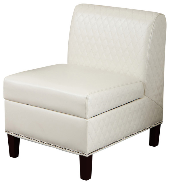 Liv White Leather Armless Club Chair Contemporary Living Room Chairs By