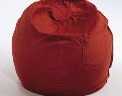 Large Beanbag in Red Micro Suede modern-footstools-and-ottomans