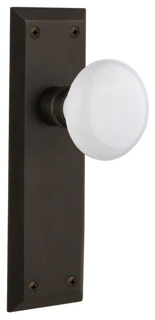 Nostalgic Double Dummy-New York Plate-White Porcelain Knob-Oil-Rubbed Bronze - Contemporary ...