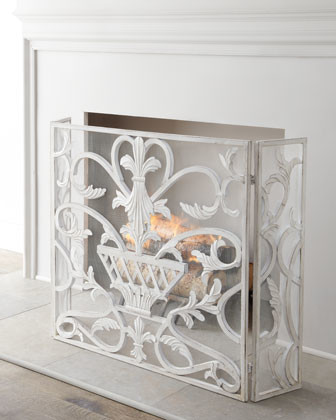 White fireplace screen