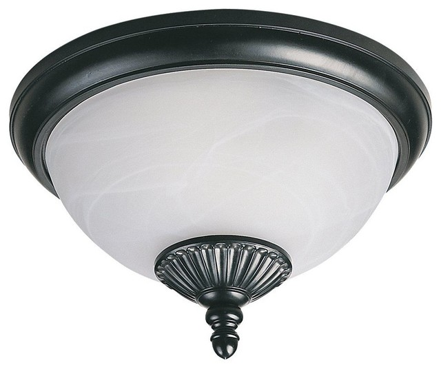 Seagull Yorktowne Flush Mount Outdoor Lighting Fixture In Black Contemporar