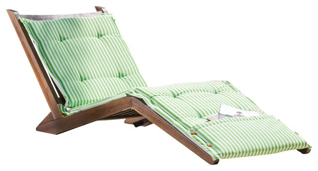 Midori Mahogany Folding Chaise Lounge Chair With Green Striped Cushion Contem