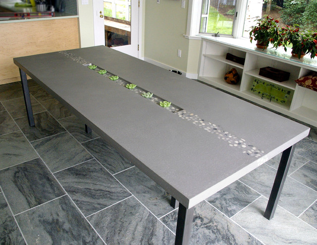 Contemporary Custom Kitchen Table With River Rocks Contemporary Dining Tables New York