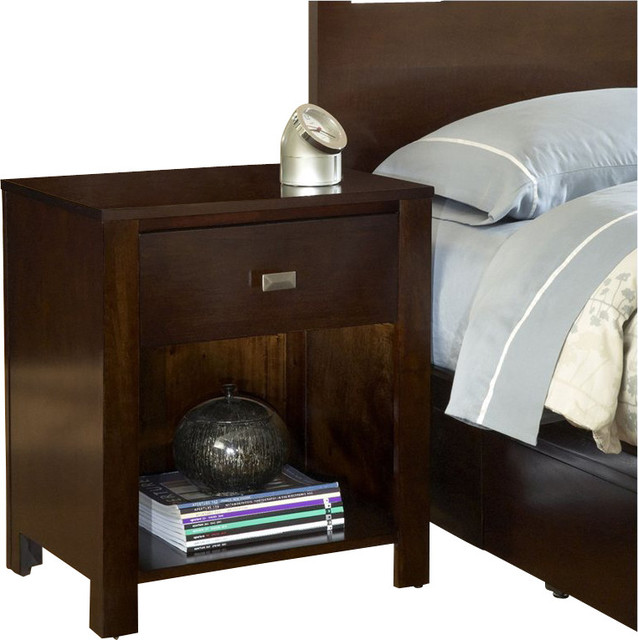 Modus furniture riva one drawer nightstand in chocolate for Chocolate brown bedroom furniture