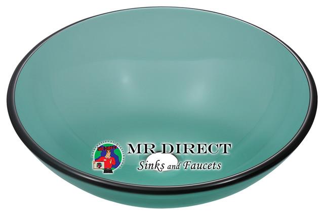 601-Emerald Glass Vessel Sink modern-bathroom-sinks