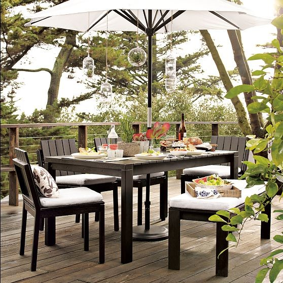 Wood-Slat Dining Collection modern outdoor tables