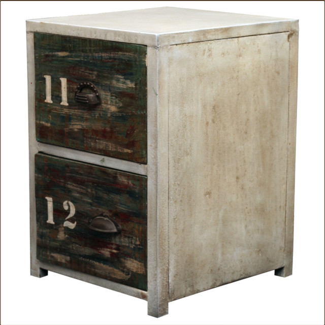Industrial Reclaimed Wood & Iron End Table 2 Drawer Night Stand Industrial Nightstands And