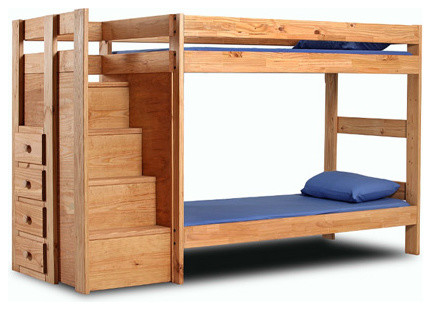wood twin twin bunk bed with stairs 394 pc craftsman bunk beds
