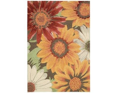 "Nourison Indoor/Outdoor Area Rug: South Beach Sunflower 8' x 10' 6"" contemporary-doormats"