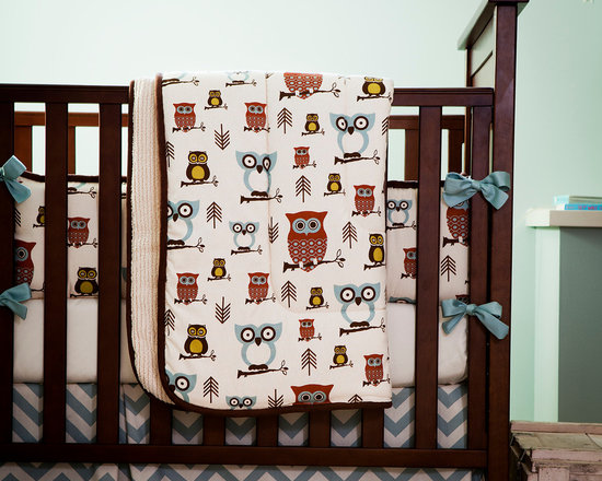 Retro Owls Crib Comforter - Front of comforter features Retro Owls, backed with Tan Minky Chenille, and edged with Solid Chocolate Minky trim.