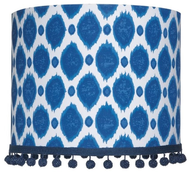 ikat dot shade dark blue eclectic lamp shades by pbteen. Black Bedroom Furniture Sets. Home Design Ideas