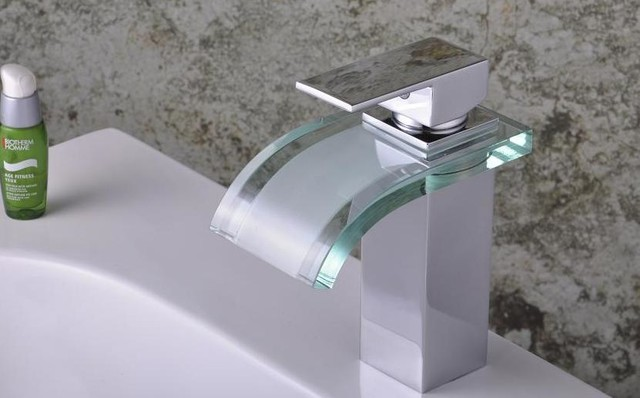 Model 0822 - Modern LED and Glass Waterfall Bathroom Basin Faucets modern-bathroom-faucets