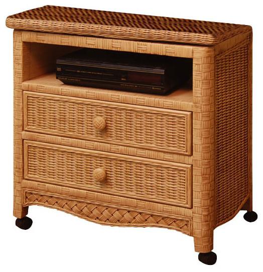 Kelora 2-Drawer Swivel Wicker TV Stand - Tropical - Furniture - by Wicker Paradise