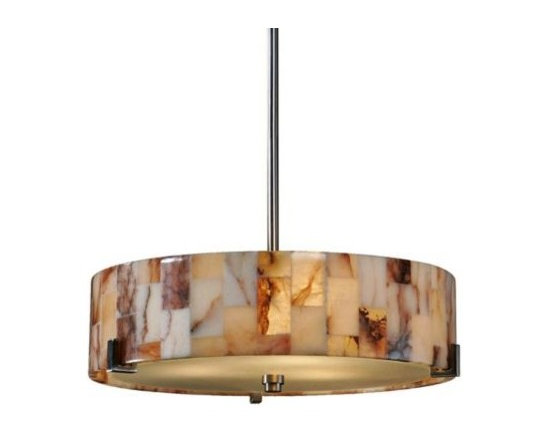 Uttermost Bowers Nickel with Marble Shade Pendant Light -