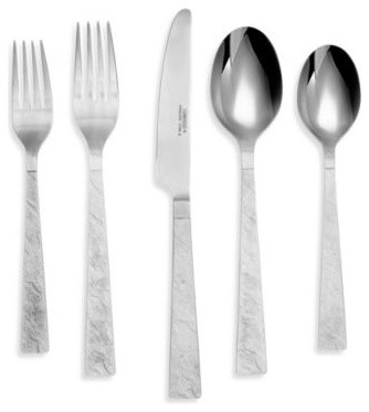 Slate satin 20 piece stainless steel flatware set contemporary flatware by bed bath beyond - Contemporary stainless flatware ...