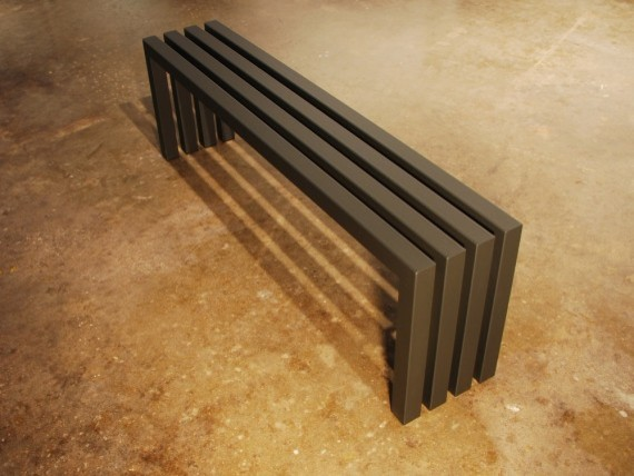 Gunmetal Grey Linear Bench by Payam Sarabi contemporary-benches