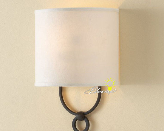 Antique Linen Shade Wall Sconce in Painted Finish - Antique Linen Shade Wall Sconce in Painted Finish