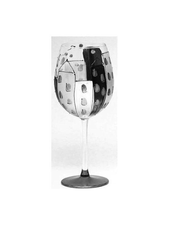 Hand Painted CItyscape Design in Black and White, Holds 18 Oz - In A Gift Box - Hand Painted Wine Glass is perfect for your wine party, girls night, festive gathering and when you are enjoying a glass of wine at home.
