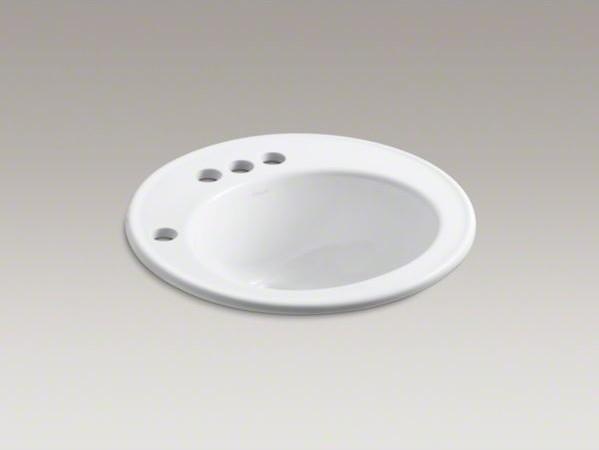 "KOHLER Brookline(R) 19"" diameter drop-in bathroom sink with 4"" centerset faucet contemporary-bath-and-spa-accessories"