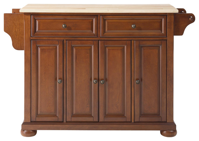 Crosley KF30001ACH Alexandria Natural Wood Top Kitchen Island in Classic Cherry traditional-kitchen-islands-and-kitchen-carts
