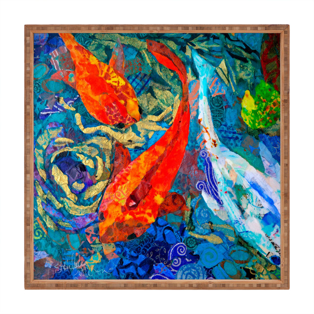 Elizabeth St Hilaire Nelson Koi Square Tray tropical-serving-dishes-and-platters