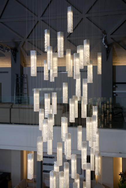 Modern lighting for foyer modern entry stairway lights for Pendant lighting for high ceilings