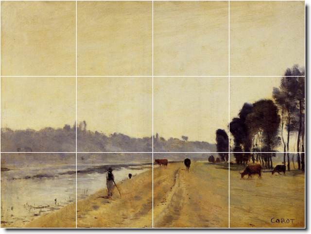 Banks Of A River Tile Mural By Jean Corot traditional-tile
