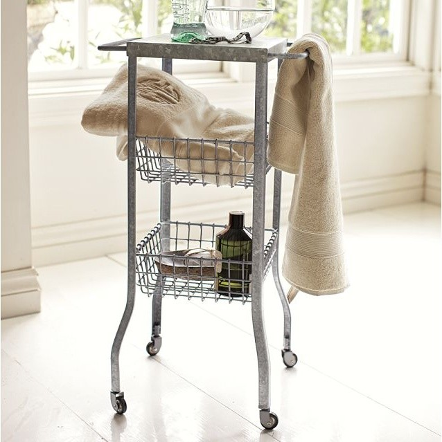 Galvanized Metal Floor Storage - Contemporary - Side Tables And End Tables - by Pottery Barn