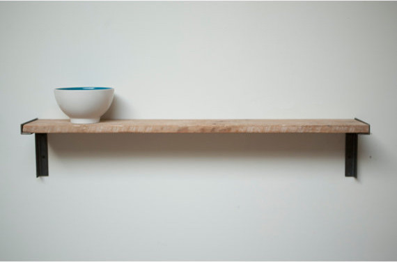 Minimal Wall-Mount Shelf, Reclaimed Old Growth Wood And