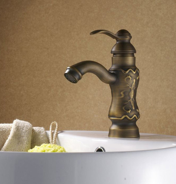 Luxury Sculpture Art Antique Brass Bathroom Faucet