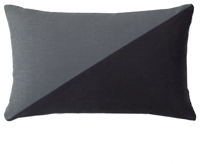 Duo Charcoal Grey Throw Pillow - Modern - Decorative Pillows - by LaCozi