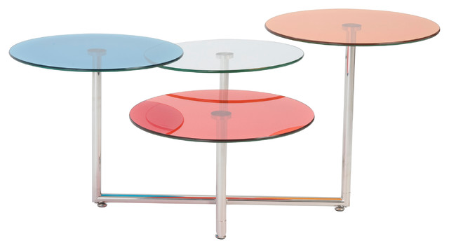 Euro style grayson collection glass coffee table in blue for Red modern coffee table