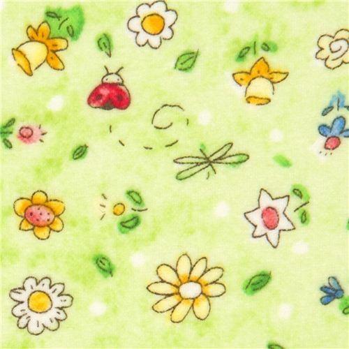 light green flannel fabric flower ladybird butterfly USA fabric