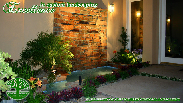 CUSTOM FOUNTAIN BY CHIP-N-DALES CUSTOM LANDSCAPING contemporary landscape