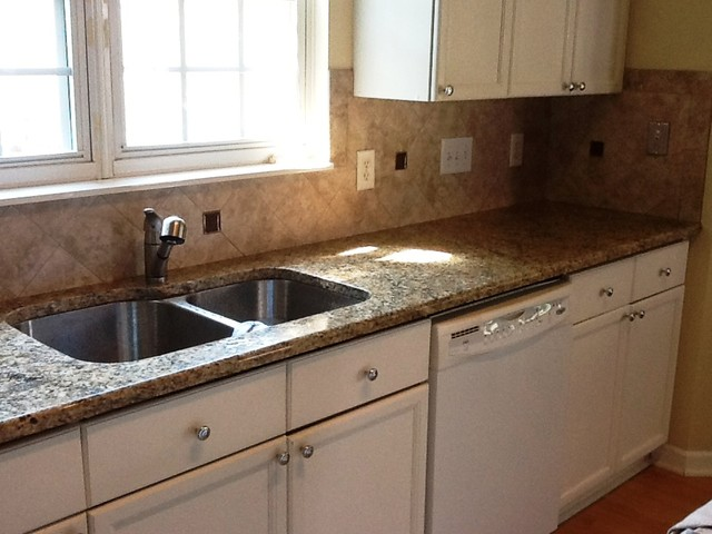 20 12 new venetian gold granite with white cabinets traditional