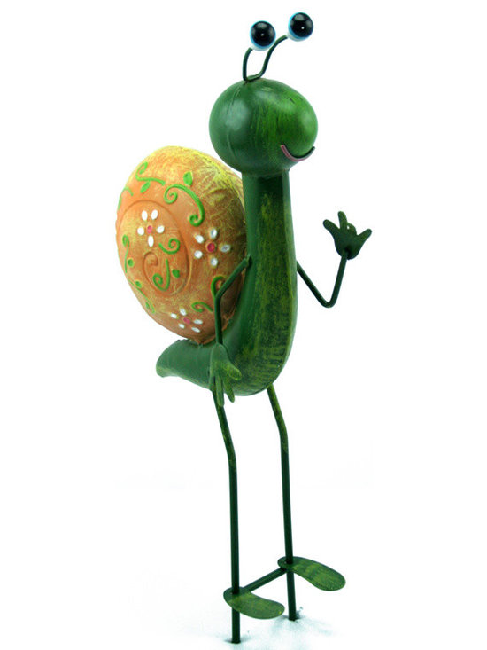 Outdoor Accents - Snail Garden Stake  -  Brightly colored accent crafted from metal. A mascot for your garden.