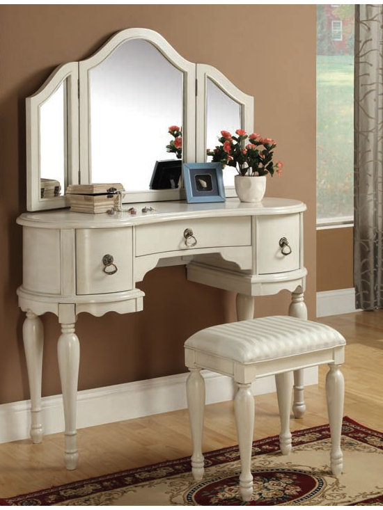 Bedrooms Furniture - Trini White Vanity Sets With Mirror